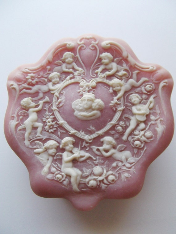 Vintage Incolay Stone Cameo Trinket Jewelry Box In Pink And