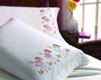 Pillowcase Set - Pinup, Nightie Night -Hand Embroidered- Standard