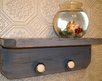Shabby Chic Shelf, Handmade Primitive Distressed Wood Shelf with 2 knobs, Deep Lavender