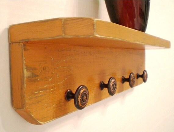 Primitive Wood Shelf with Bronze knobs, Shabby Chic/French Country/Italian Decor/loft Style/Primitive Decor/Cottage Chic Shelf-Terracotta