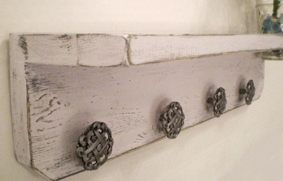 Shabby Chic Wood Shelf with Fruit Jar with 4 Pie Crust Knobs, Country Cottage Decor, Primitive Jewelry Holder