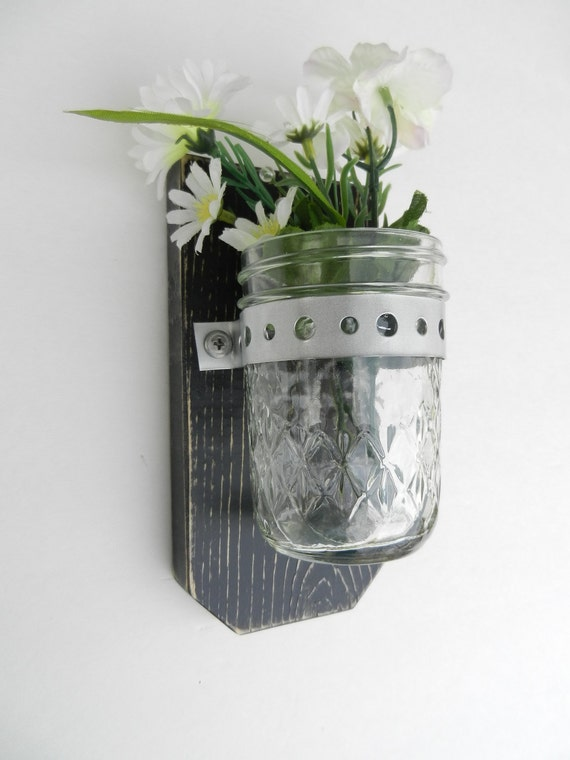 Wall Vase Wood Wall Hanger Shabby Chic / French Country-Black / Wedding Gift / Gift for her / Bridal Gift / Mothers Day