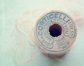 Faded Pink - Photography print Vintage wooden thread spool pastel pale pink baby blue craft room decor macro Photograph 5x7