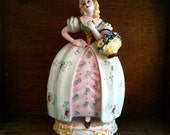 Vintage Italian Lady with Flower Basket / English Shop