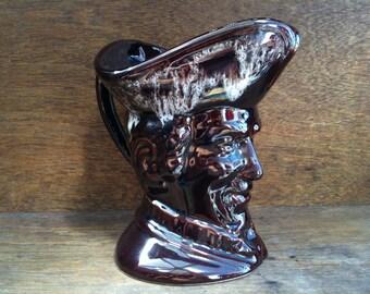 Vintage English ceramic brown glazed toby jug tankard circa 1960's / English Shop