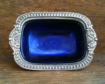 Vintage English silver plate metal encased blue bowl candy dish pot jewellery jewelry trinket circa 1950-60's / English Shop