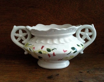 Vintage English white flower vase vessel dish pot bowl with handpainted flower design ceramic circa 1950's / English Shop