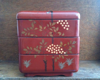 Vintage Japanese large lacquer jewellery jewelry lunch box circa 1950-1960's / English Shop