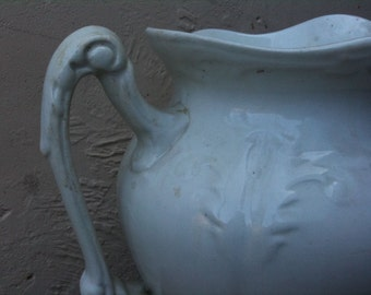 Vintage English large heavy white water jug white ceramic circa 1920's / English Shop