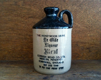 Vintage English stoneware Cornish mead cider bottle with loop handle circa 1960's / English Shop