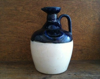 Vintage English blue and cream stoneware bottle with loop handle circa 1960's / English Shop