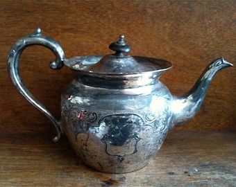 Vintage English Sheffield Silver Plate Metal Crest Tea Pot Teapot circa 1910-20's / English Shop