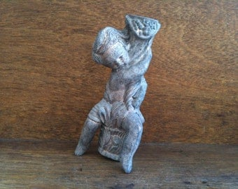 Vintage English child clinging on branch metal ornament figurine topper sculpture circa 1920's / English Shop