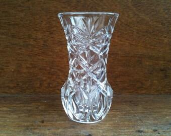 Vintage English Small Bud Lead Crystal Glass Vase circa 1950's / English Shop