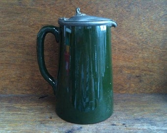 Vintage English Green Jug Pitcher with Pewter Lid circa 1950-60's / English Shop