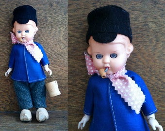 Vintage decorative blue clothed dutch boy with bucket and pipe for display circa 1970's / English Shop
