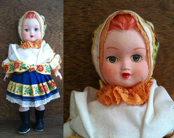Vintage decorative clothed doll for display circa 1970's / English Shop
