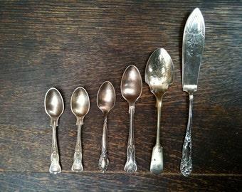 Vintage English Spoons Knife Cutlery Utensils circa 1950's / English Shop