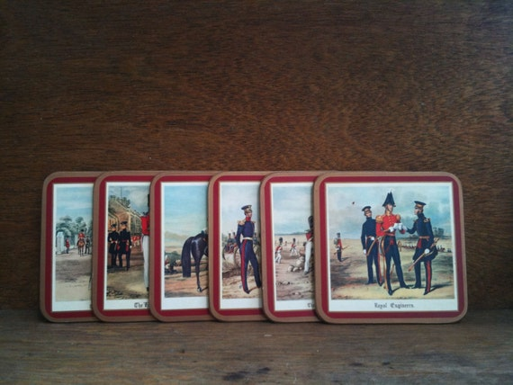 6 x Vintage Pimpernel Soldier Coasters - British Soldier Uniforms / English Shop