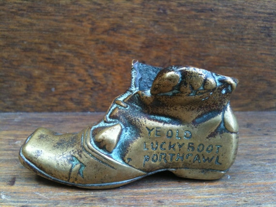 Vintage English brass Porthcawl lucky boot circa 1950's / English Shop