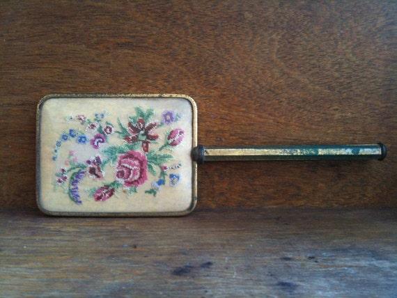 Vintage English Cross Stitch Mirror Brass Handheld Dresser circa 1930's / English Shop