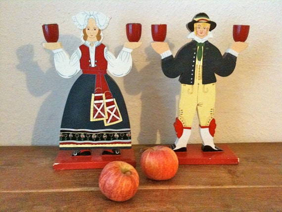Vintage Swedish candlestick candle holder pair husband and wife traditional Swedish costume circa 1960's / English Shop