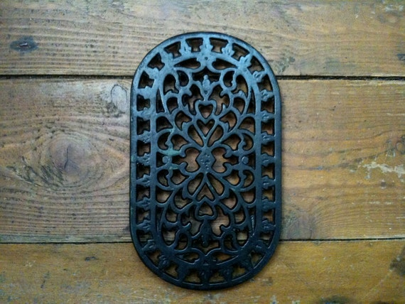Vintage English ornate black cast iron stove table trivets rests circa 1960's / English Shop