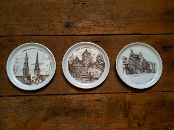 Vintage German Beer Coasters Architect Designs & buildings circa 1960's / English Shop
