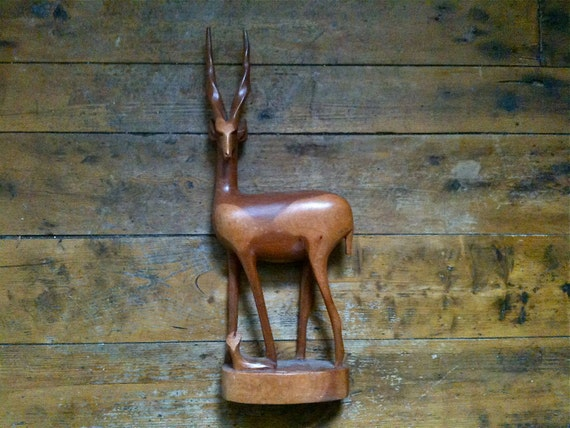 Vintage English Large Wood Deer with Fawn / English Shop