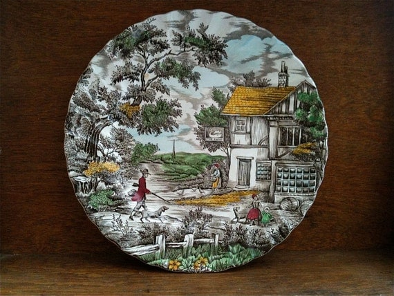 Vintage English The Swan Inn Hunting Shooting Ceramic Lunch Dinner Plate circa 1960's / English Shop