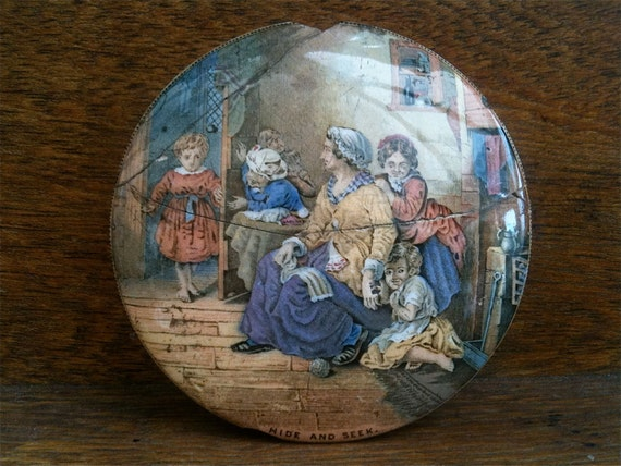 Antique English ceramic pot lid hide and seek damaged cracked broken circa 1900's / English Shop