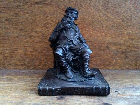 Vintage English Falstaff Figurine, sitting with a Chair & Book