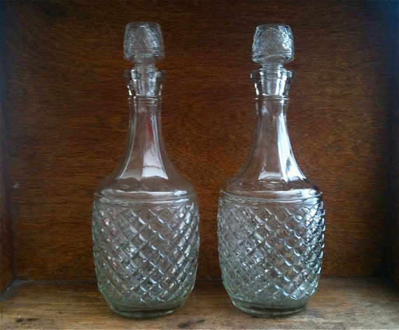 Vintage English Large Pressed Glass Decanters, Pair of Two