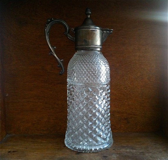 Vintage English Large Silver Plate Glass Decanter, with Handle / English Shop