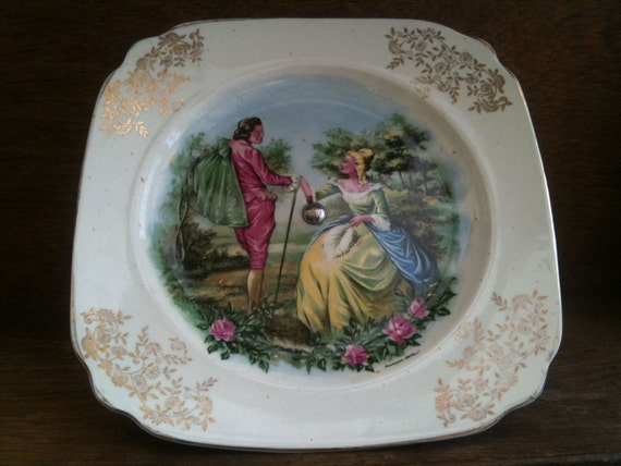 Vintage Dutch Sandwich or Cake Plate on Stand,with Amsterdam Holland Love Lovers Pair circa 1960's / English Shop