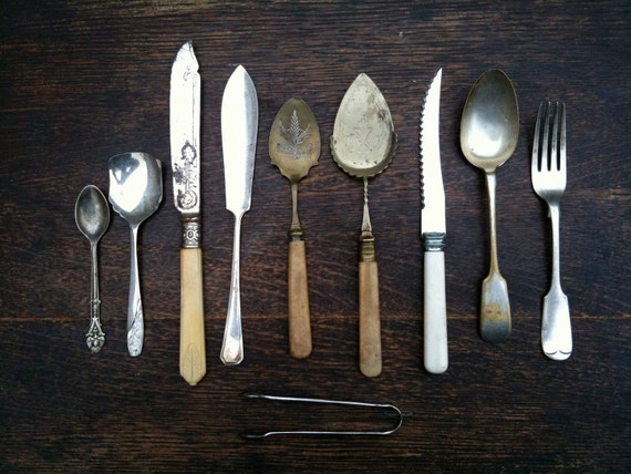Vintage English Mixed Collection of Cutlery, Flatware, & Sugar Tong / English Shop