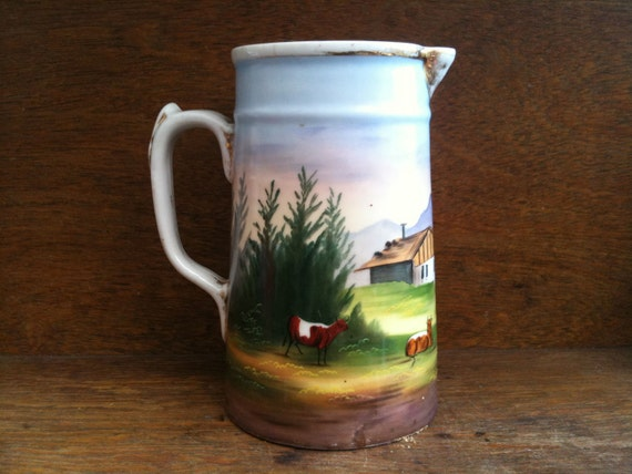 Vintage English Ceramic Hand Painted Jug Pitcher Milk Cream Custard Country Scene Rustic circa 1950's / English Shop