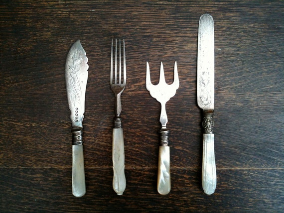 Vintage English mother of pearl handled forks and knives mixed set cutlery circa 1920's / English Shop