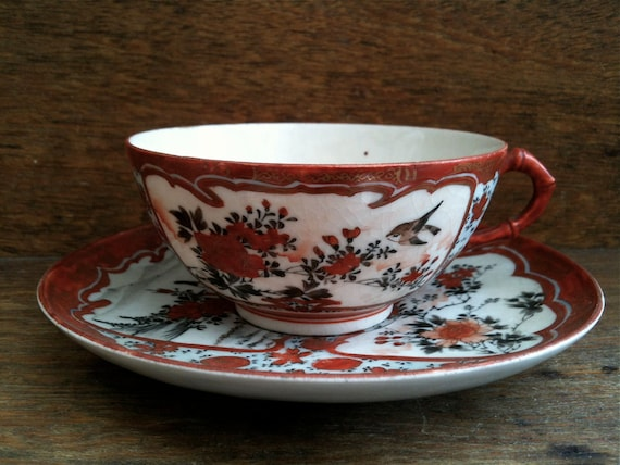 Vintage Japanese Asian Painted Tea Cup with Swallow and Peach circa 1940-50's / English Shop