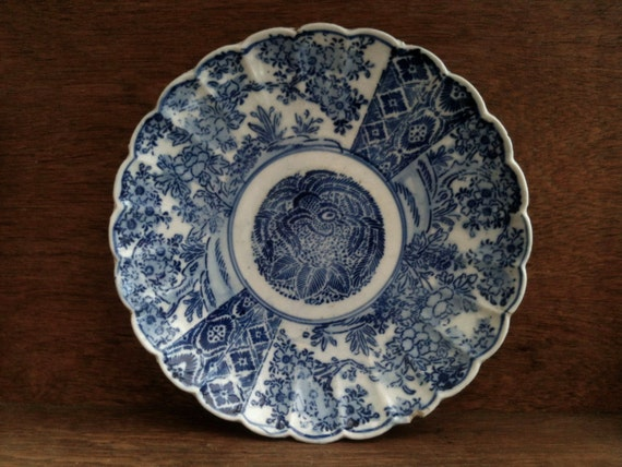 Vintage English Blue and White Phoenix Lunch Sandwich Plate Asian Style circa 1930's / English Shop