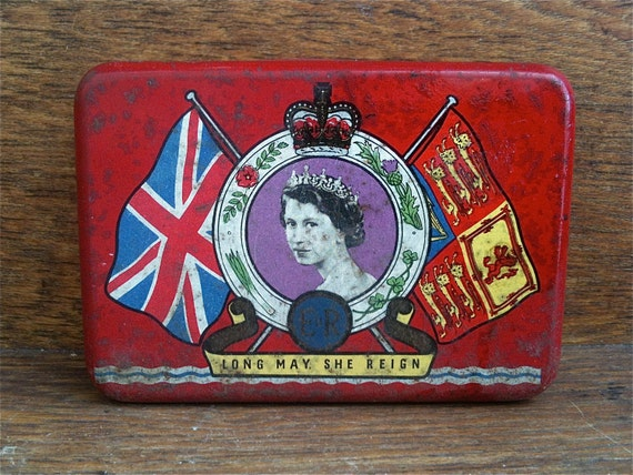 Vintage English Queen Elizabeth Red Tin Box, OXO