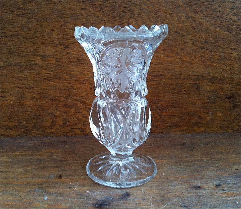 Vintage English Small Bud Vase Clear Crystal Glass English