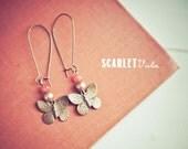 Amber butterfly bronze dangle earrings