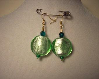 Minty green foil glass earrings