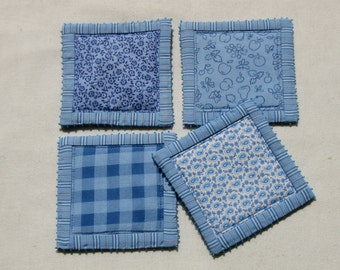 Patchwork coasters in blue and white shabby chic -set of 4