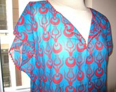 caftan beach dress cotton summer tunic swimsuit cover up women clothing Turkish Turkey CINTEMANI Print Red royal blue crochet OYA