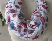 White red blue floral Infinity scarf - cotton gauze fabric scarf-Ottoman tile print- Turkey Turkish women's scarves-woman fashion accessory