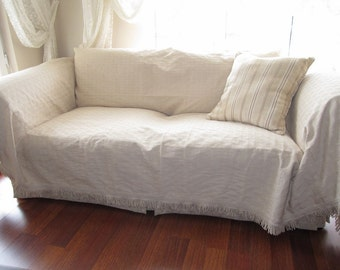 Large -   Sofa throw covers rectangle tassel ivory-couch coverlet-Woven - pet - furniture protectors - Buldan fabric by Nurdanceyiz Turkey