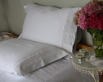 Plain White standard queen Pillowcase with handmade crochet lace French Country home -shabby chic bedding pillow cases cotton Turkish Turkey