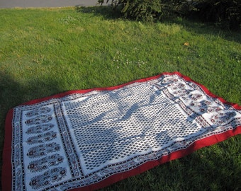 Table cloth -Turkish traditional black white -small rectangle tablecloth-Lawn Picnic Park Beach cloth-Hand woven fabric  SOFRA BEZI